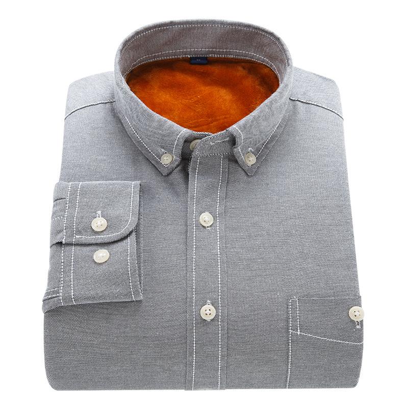 冬季新款加绒加厚纯色休闲长袖衬衫男修身牛津纺衬衣潮流翻领时尚