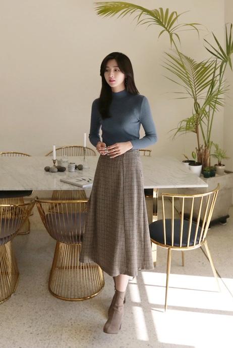 #斩男穿搭cp!!! 毛衣+半身裙#반고깃 니트 체크 에이 스커트.정말 복고적인 느낌이에요.