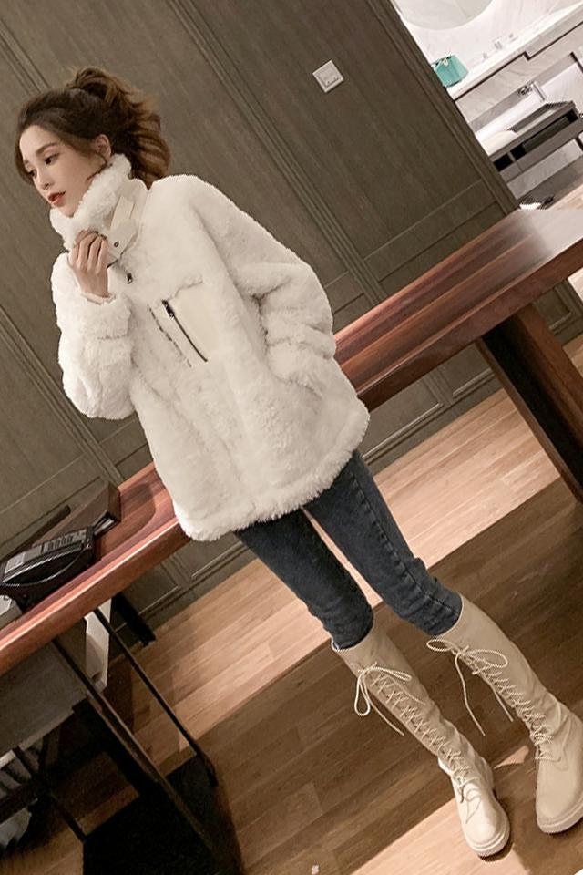 秋冬新款休闲羊羔毛外套显瘦小脚牛仔裤秋装时尚套装两件套女装