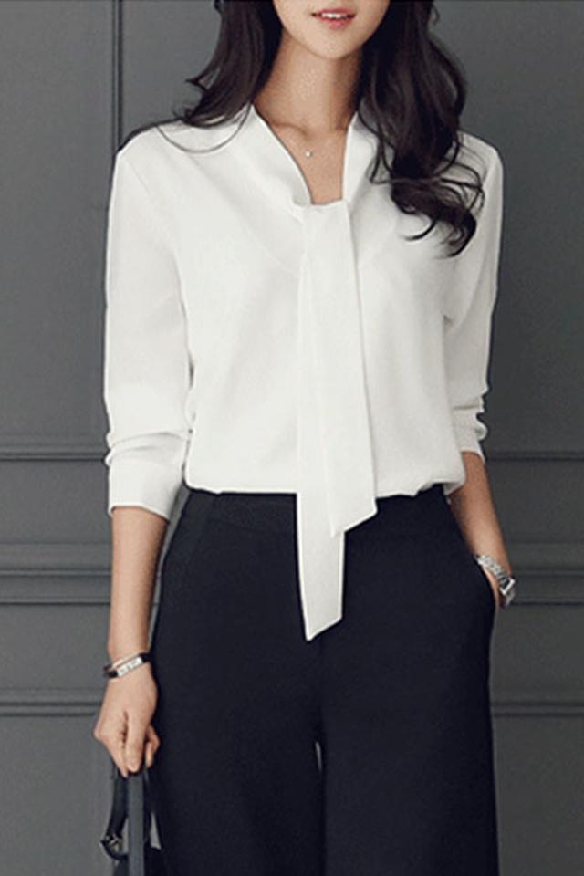 职业雪纺衬衫女长袖V领衬衣白色衬衫女气质韩版宽松韩范飘带上衣