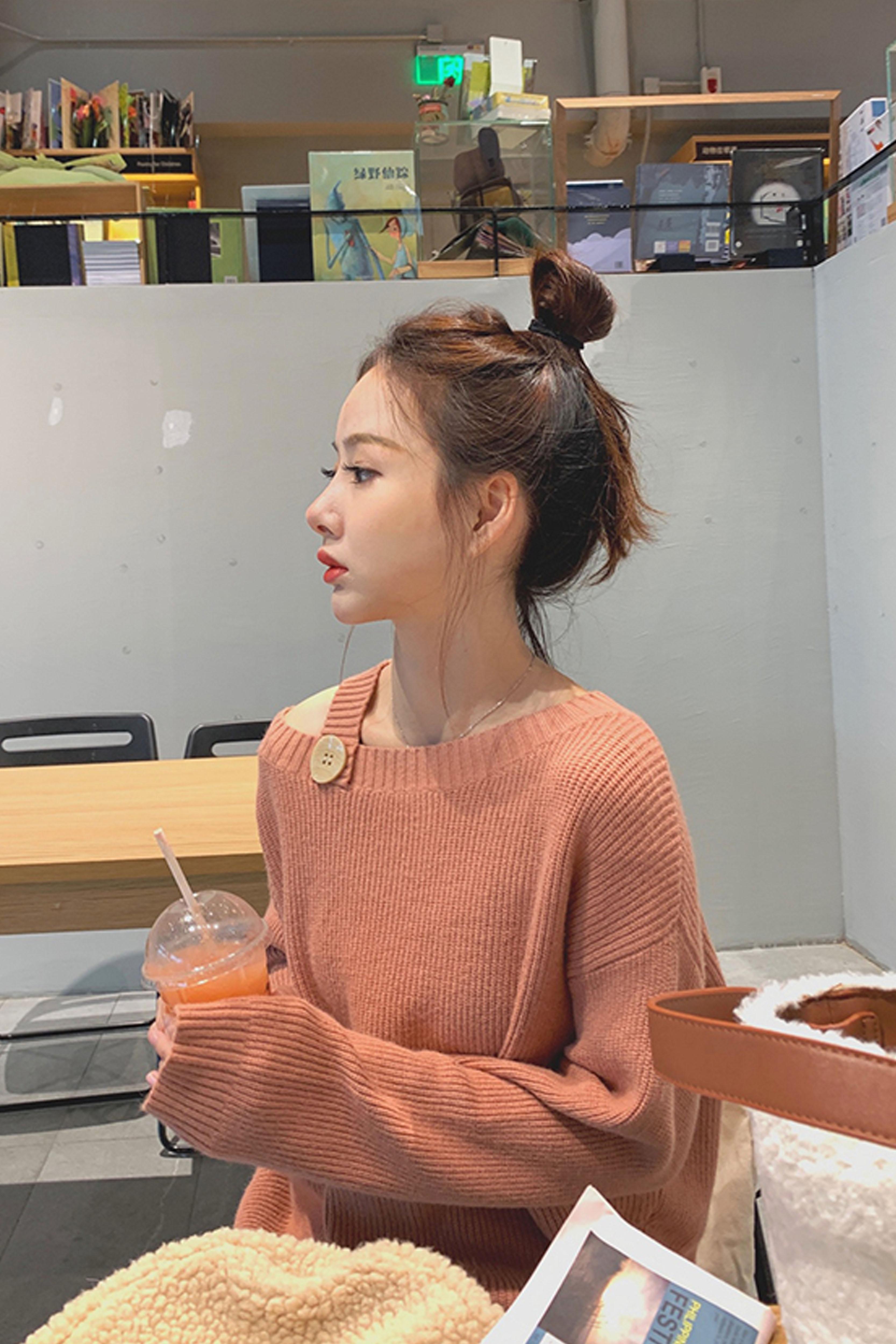 长袖套头毛衣女2019秋季新款女装 慵懒宽松小众设计感针织衫