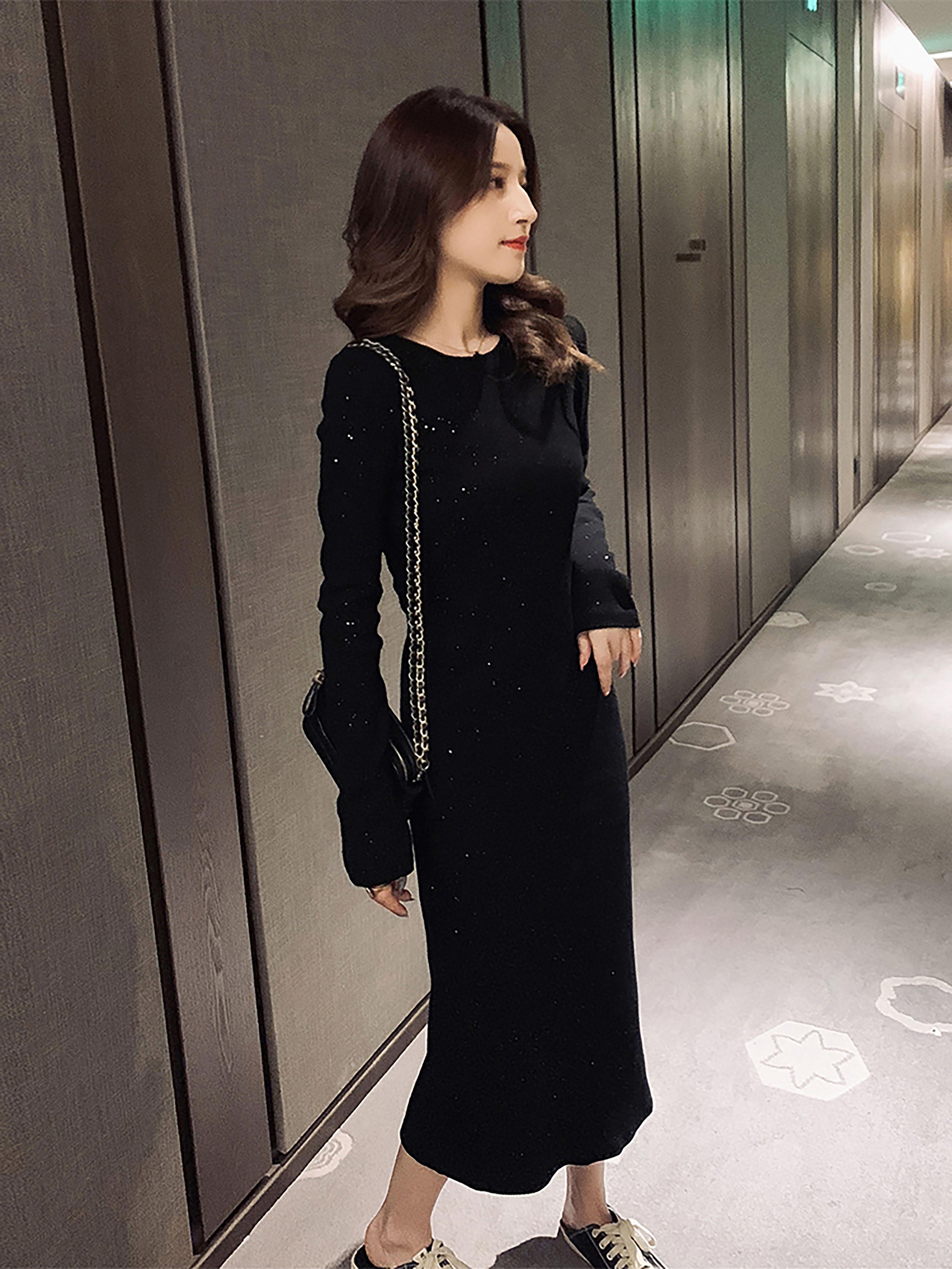 秋季新款韩版高腰长袖打底裙女黑色修身显瘦连衣裙闪闪厌世风长裙