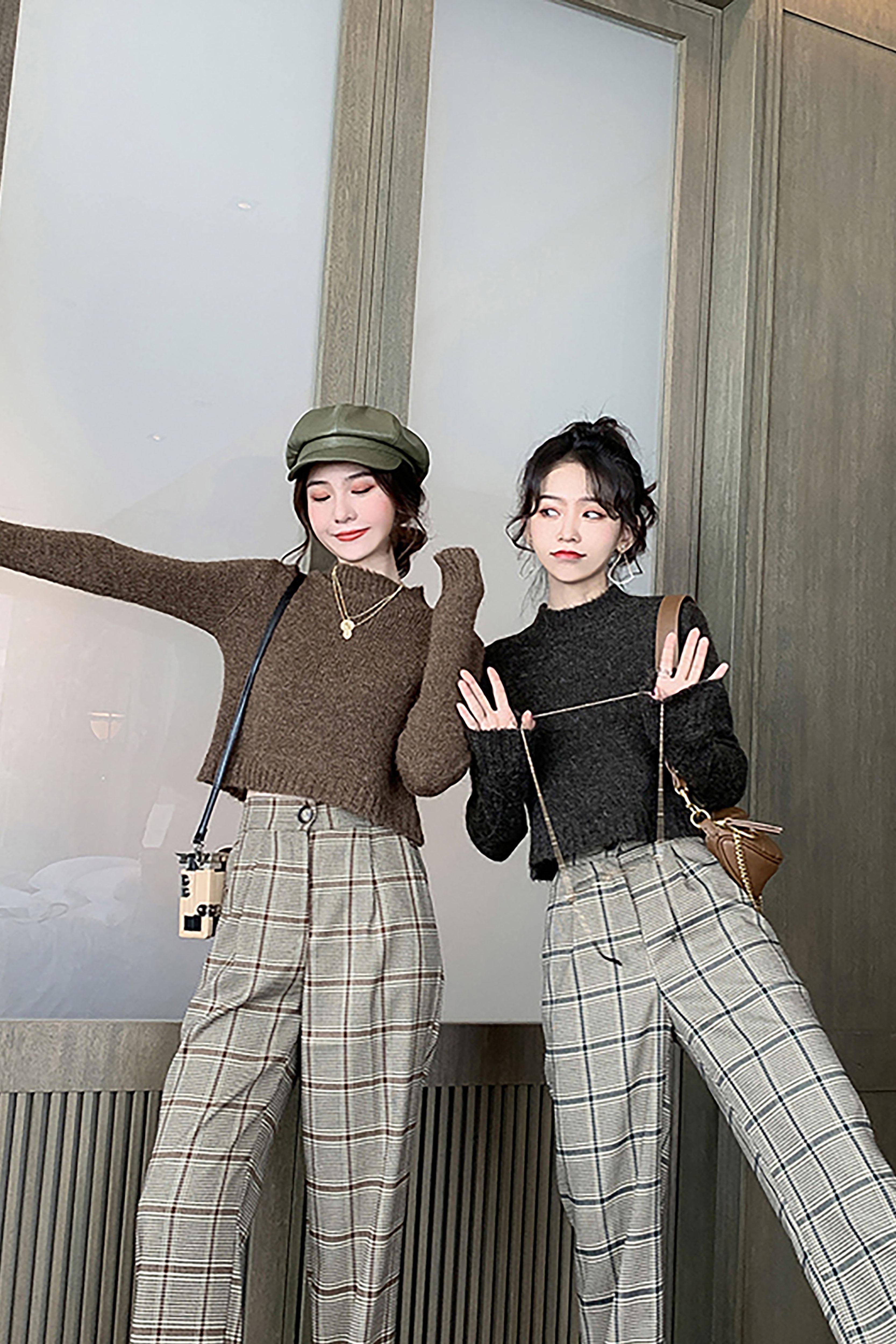 秋季新款英伦风气质洋气时尚修身显瘦针织毛衣女百搭短款长袖上衣