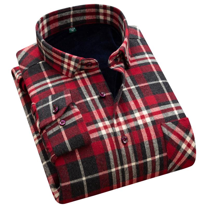 冬季加绒加厚保暖衬衫男长袖中青年男士衬衫爸爸装格子工装衬衣