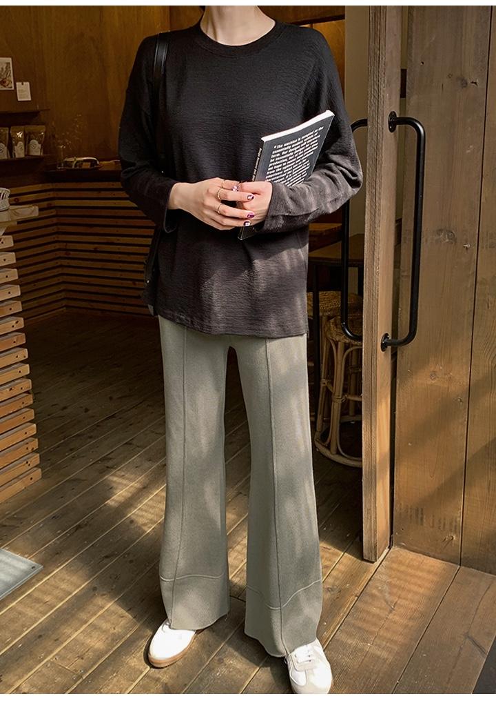 #这件毛绒绒昨天被人夸好看#검은색 커버 숄더 숄더 맨투맨, 작은 트위터에 옅은 와이드 팬츠를 매치해 올 가을에 입기 좋아요.