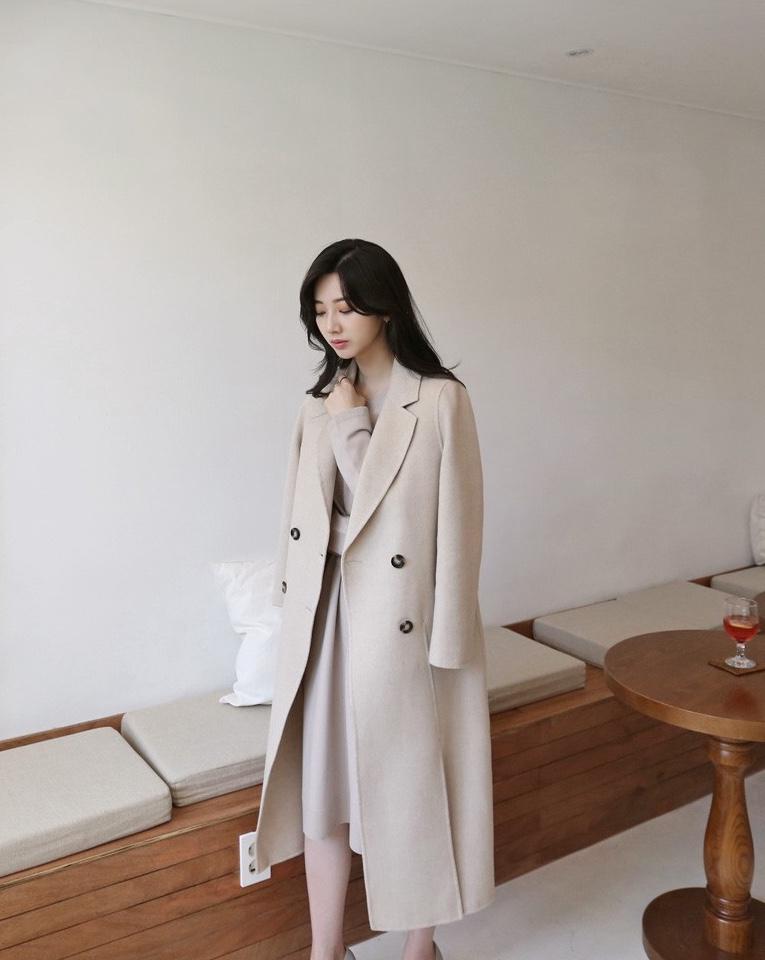#入冬大衣,养生少女已囤好!#베이직한 대기의 양면 모직 코트, 초겨울 백합.
