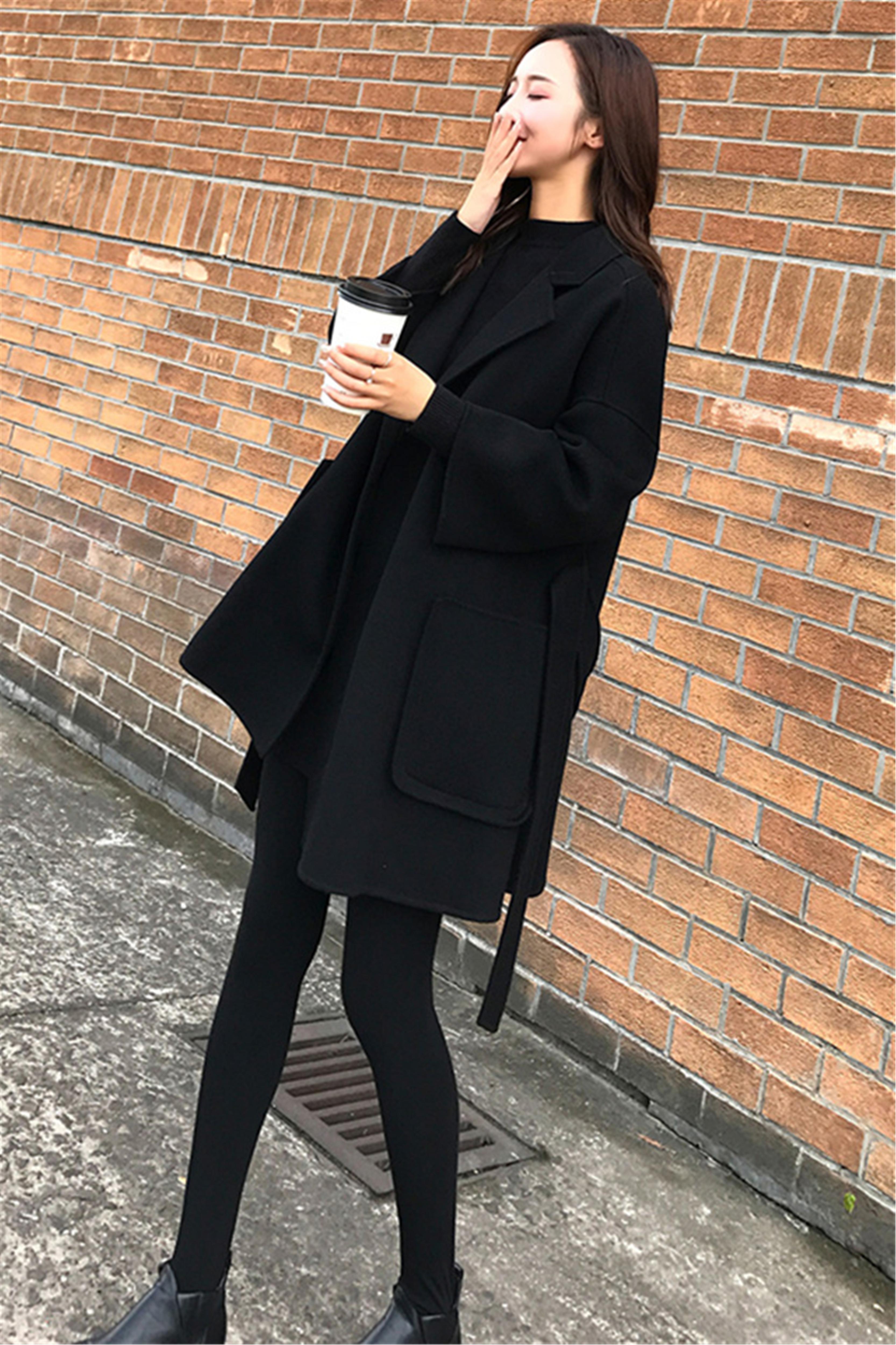 小个子冬季女套装毛呢外套+针织衫+打底裤三件套套装女