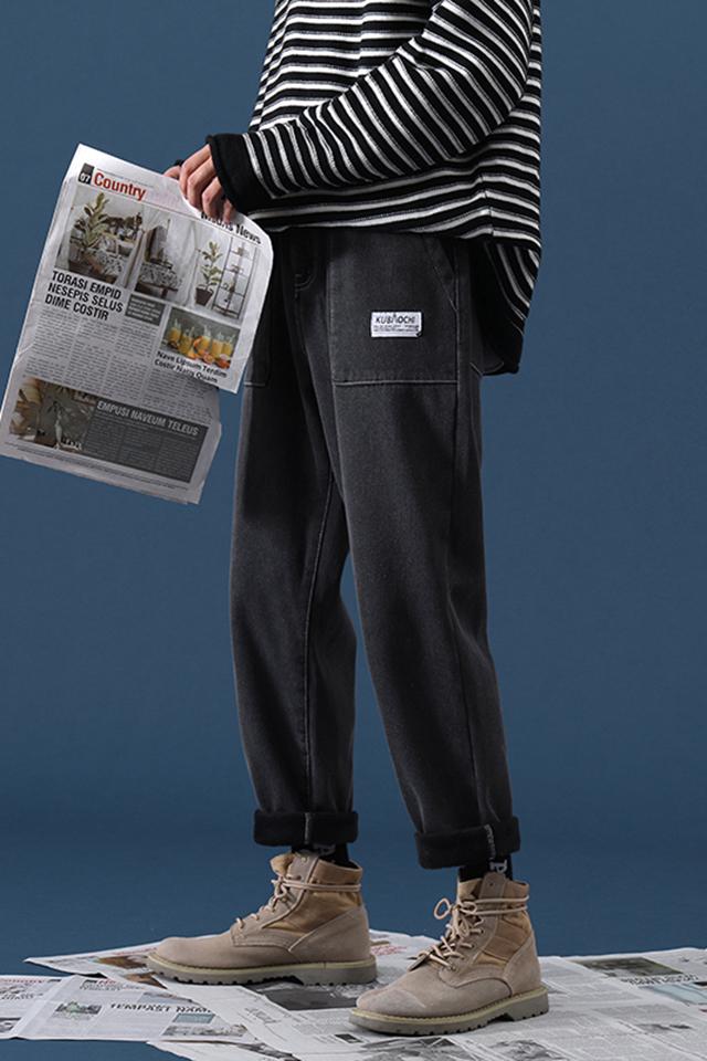 冬季新款男士牛仔裤青年宽松百搭加绒直筒裤学生长裤子时尚裤装潮