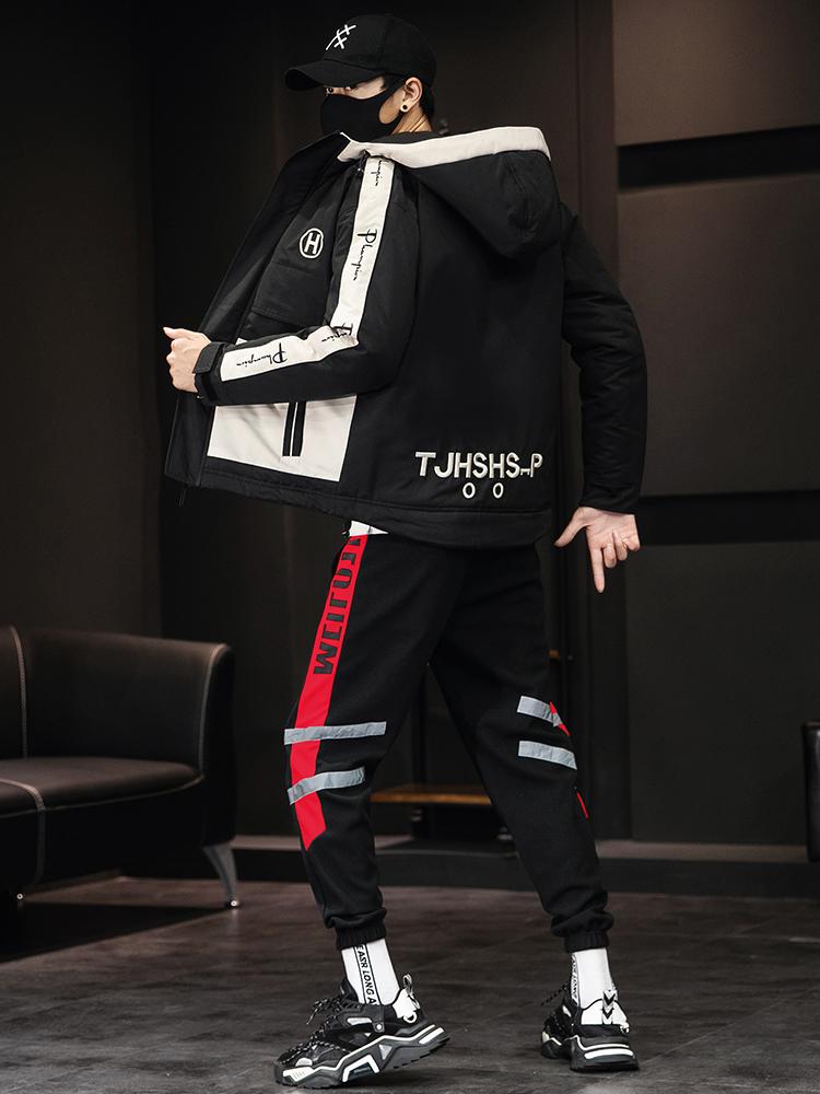 【棉衣+裤子】男士时尚套装秋季冬季棉服外套休闲裤男生宽松韩版