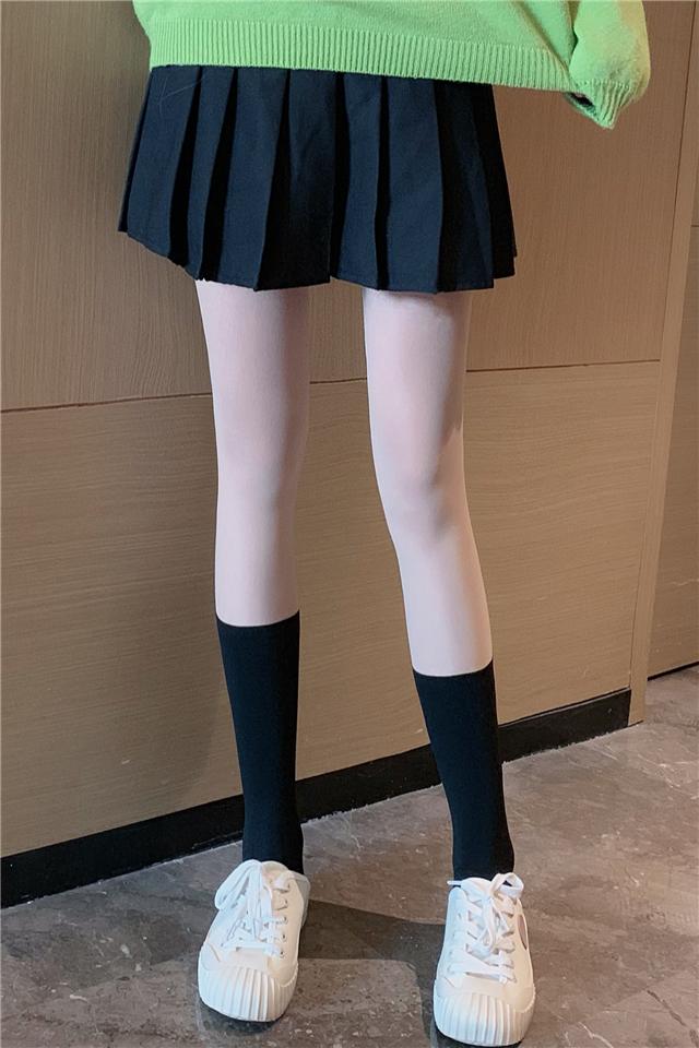 逼真防掉拼接肉色小腿袜连裤袜女秋冬薄款打底裤百搭过膝长筒袜子