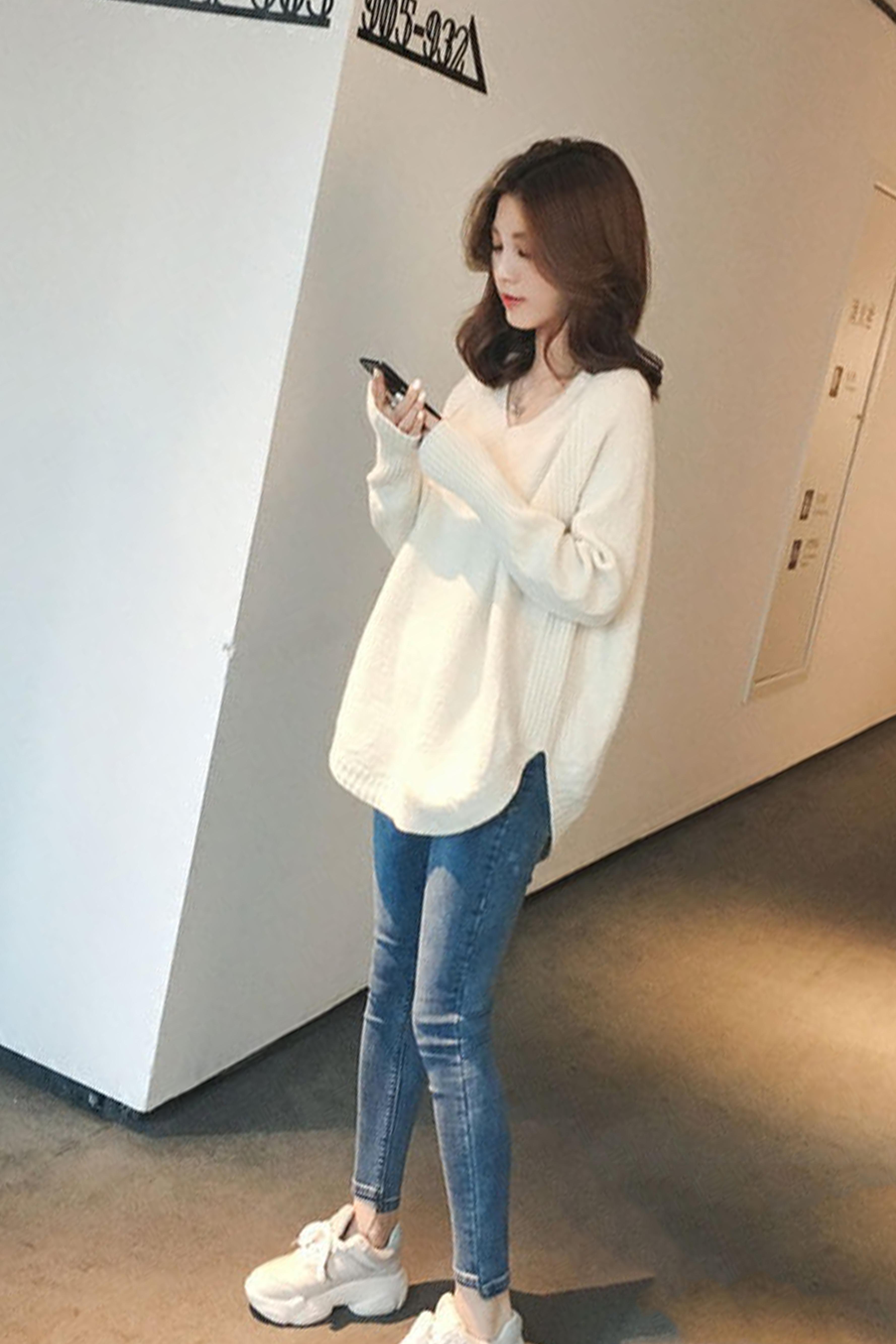 新V领套头针织毛衣女秋冬宽松打底衫百搭高腰显瘦裤子两件套套装