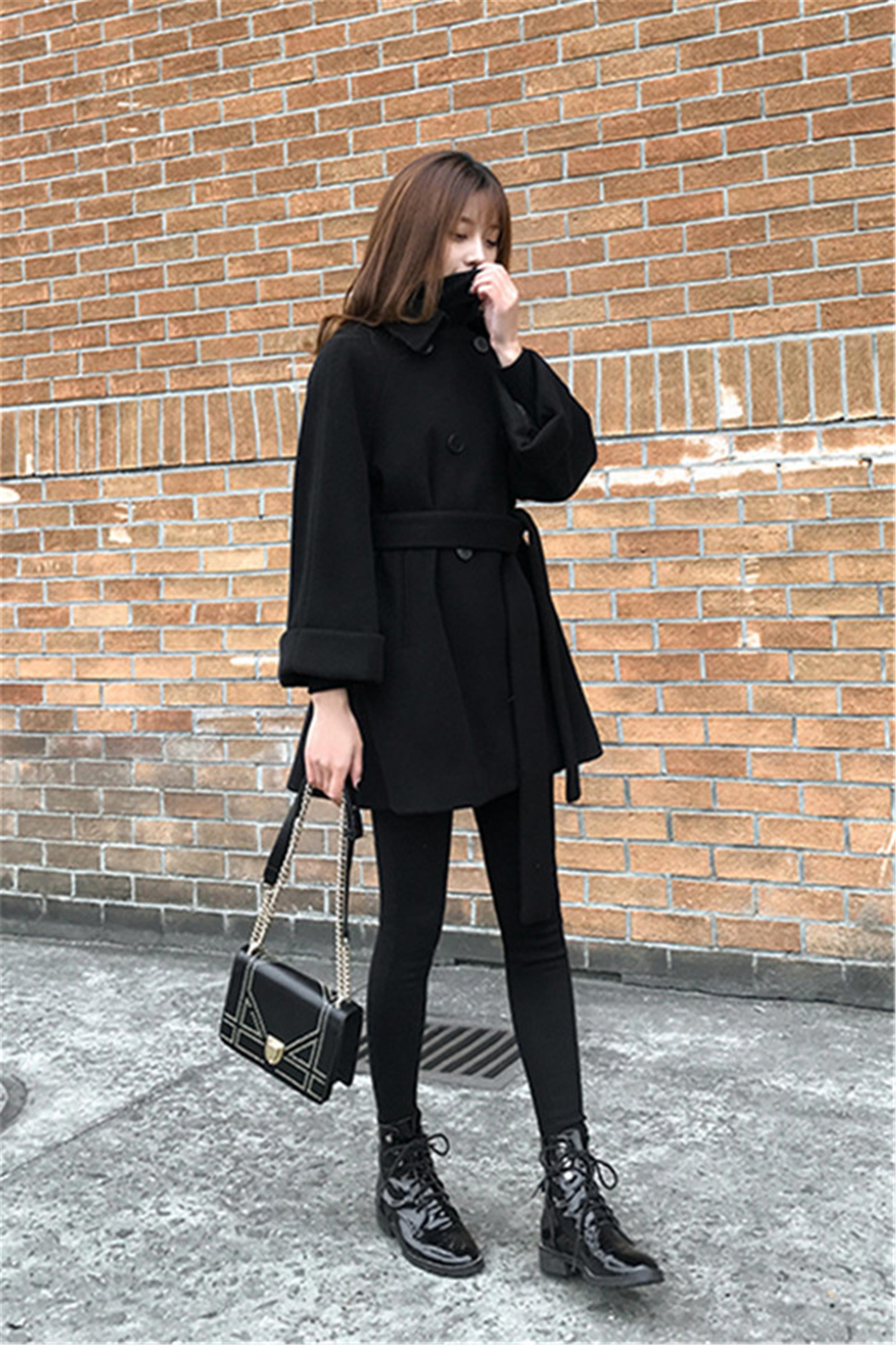 冬季套装女新款赫本加厚显瘦毛呢外套+高领毛衣+显瘦裤子三件套