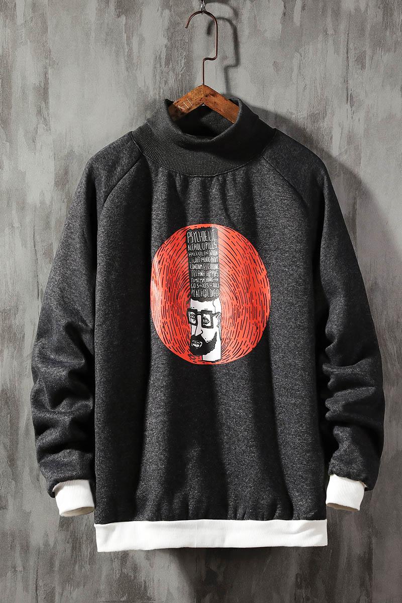 卫衣男高领加绒加厚时尚潮牌冬装初中高中学生保暖印花休闲上衣服