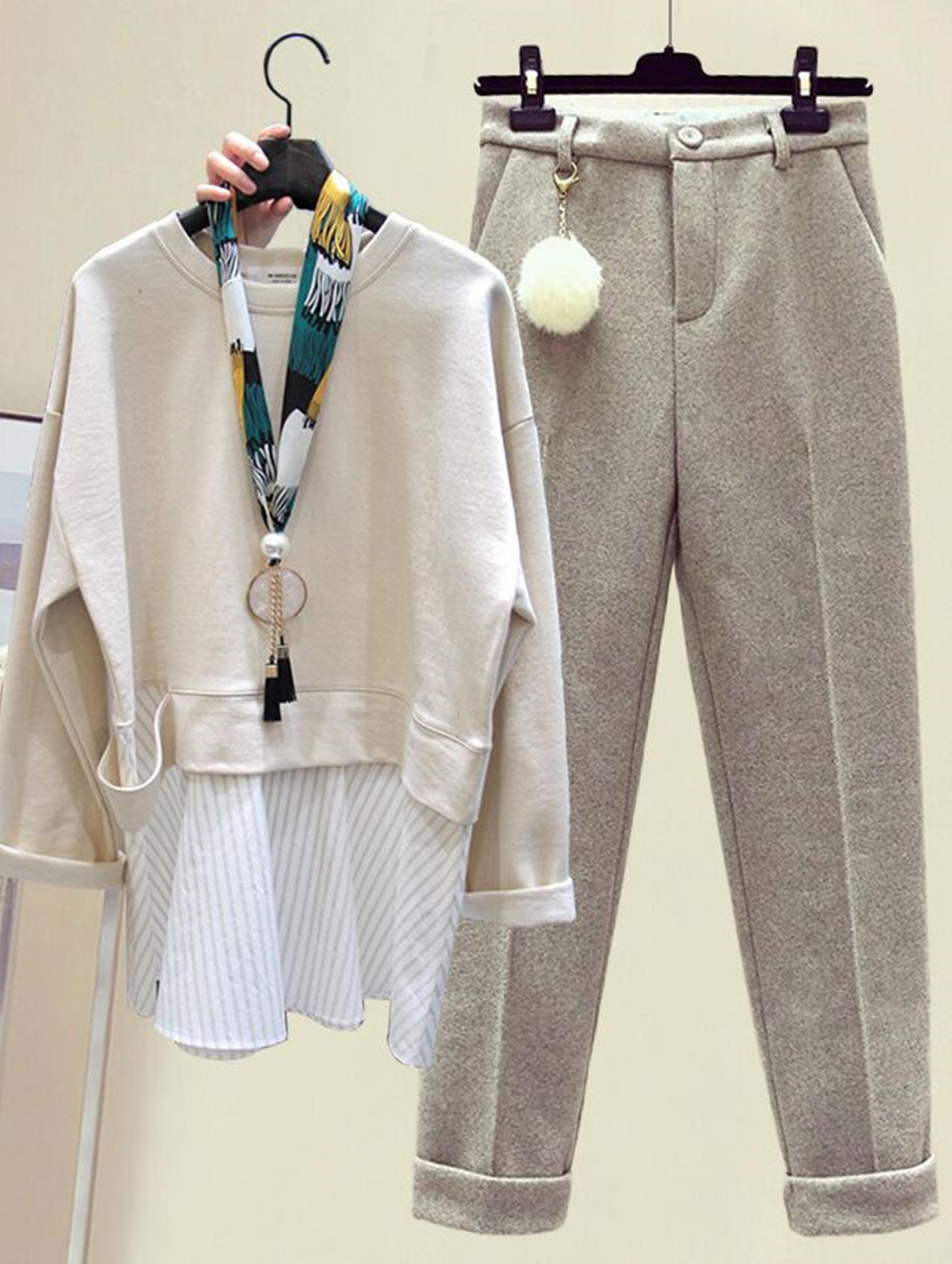 小个子时尚套装冬季新款宽松假两件套头卫衣高腰加厚毛呢裤两件套