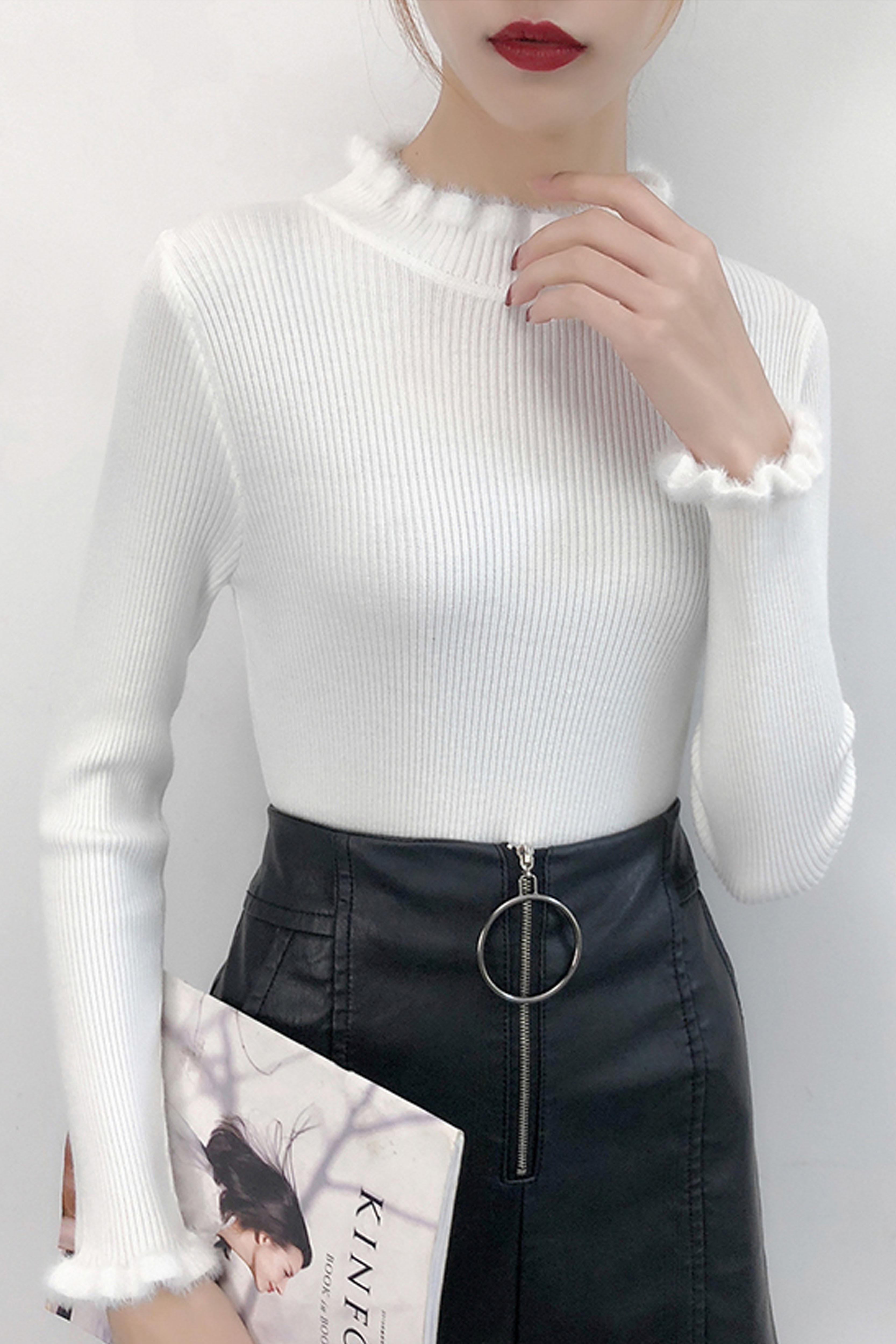 袖口貂绒长袖毛衣女2019秋冬新款女装韩版修身显瘦针织衫上衣
