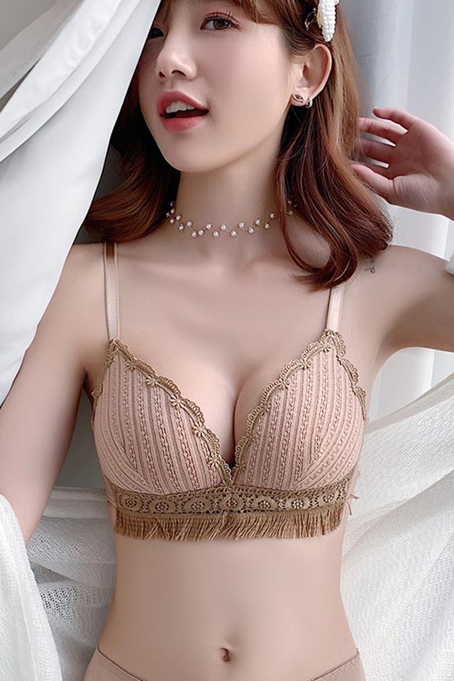 内衣女小胸聚拢无钢圈薄款调整型收副乳防外扩蕾丝性感三角杯文胸