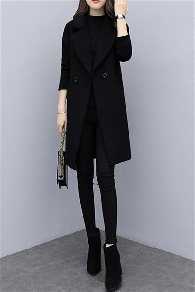 小个子时尚冬季女套装中长款毛呢外套+针织衫+打底裤三件套
