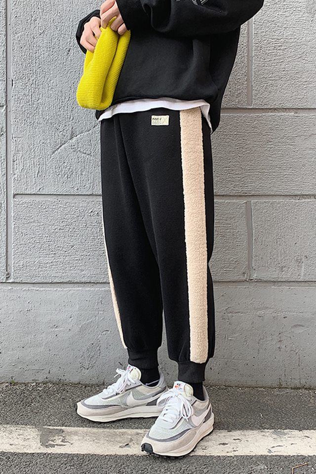 冬季新款男士加绒休闲裤羊羔毛拼接束脚裤青年运动时尚哈伦长裤子