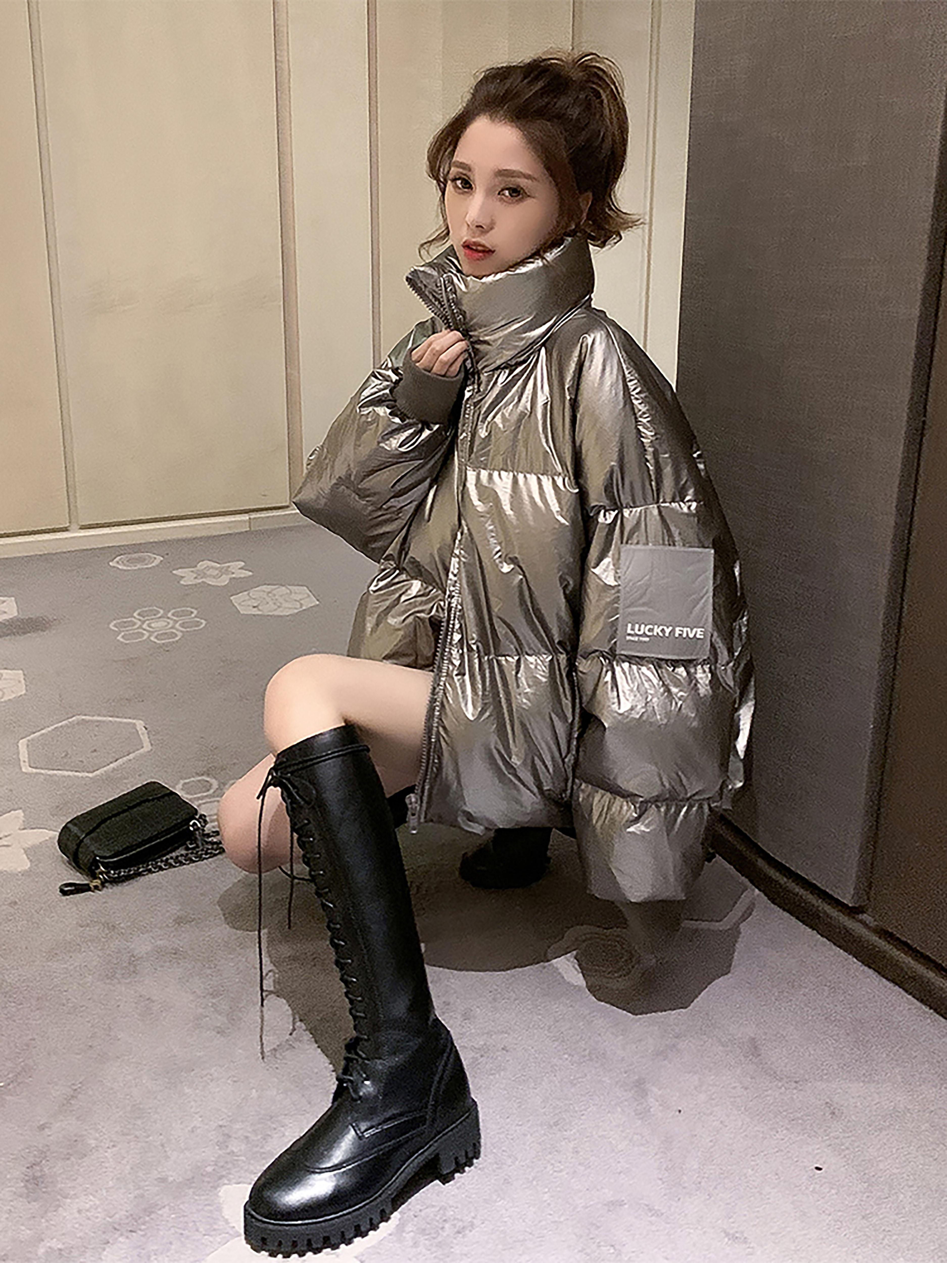 秋冬新款韩版反光立领羽绒棉面包服宽松加厚学生棉服时尚洋气上衣