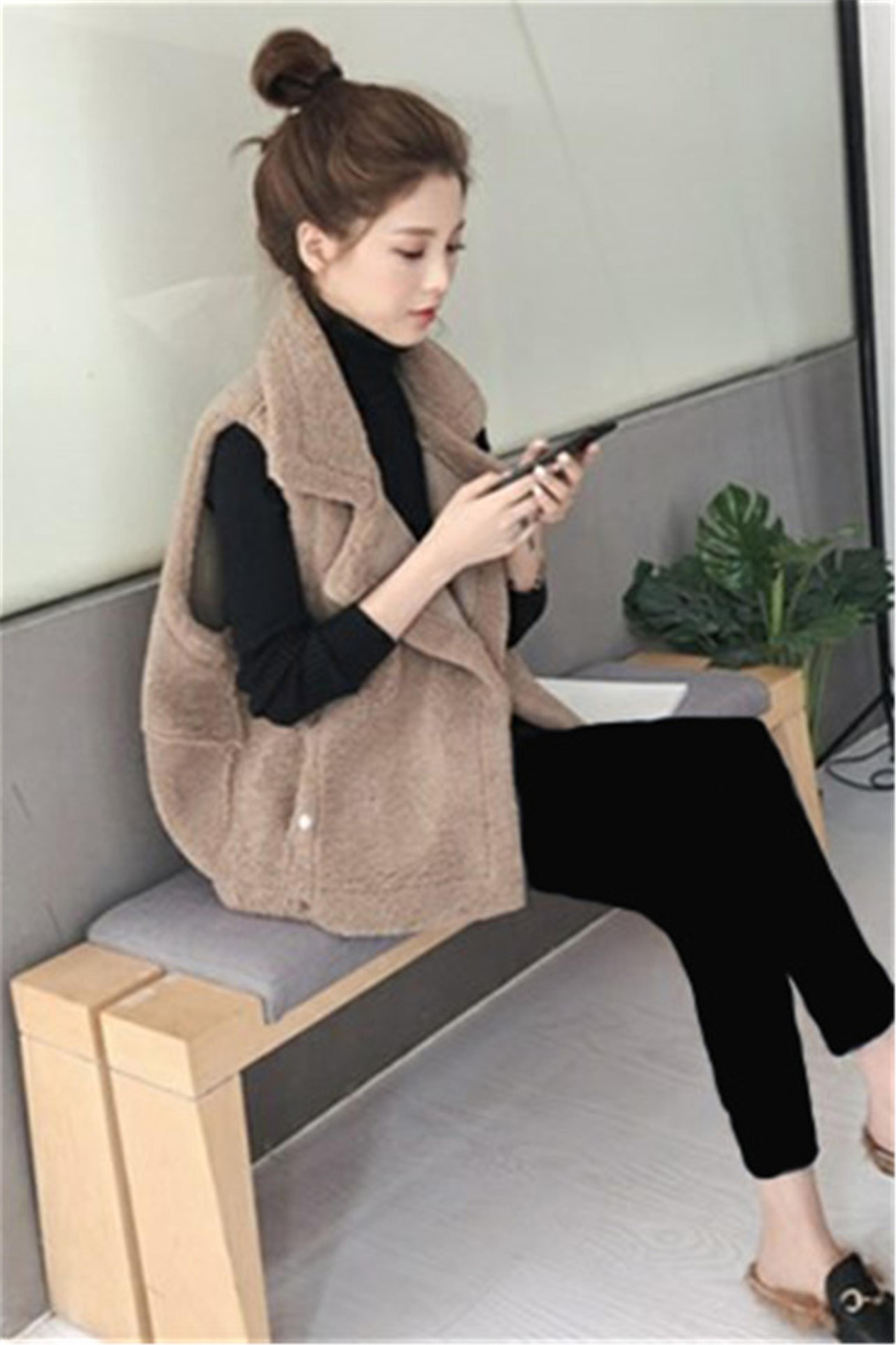 时尚两件套秋冬加厚毛绒背心马甲+高领毛衣+加绒裤子套装三件套