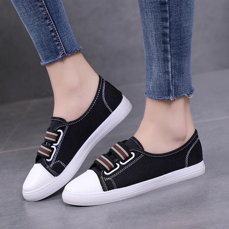 韩版百搭一脚蹬半拖鞋女学生帆布鞋潮流平底鞋新款休闲透气女拖鞋