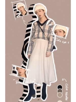 超好看的毛衣➕针织半裙的搭配!高腰的设计超级适合小个子!同色系穿搭颜色高级耐看,气质满满超级适合上班族,约会也很nice哦 #秋冬上班装,如何保持精致#