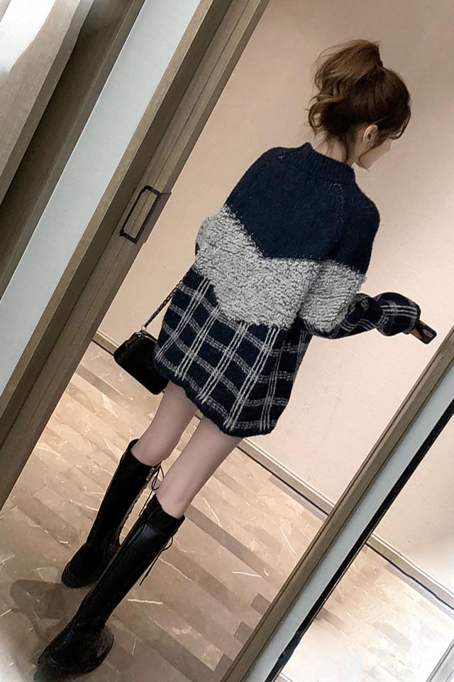 春季新品韩版圆领撞色格子宽松百搭毛衣高腰显瘦毛呢短裤时尚套装