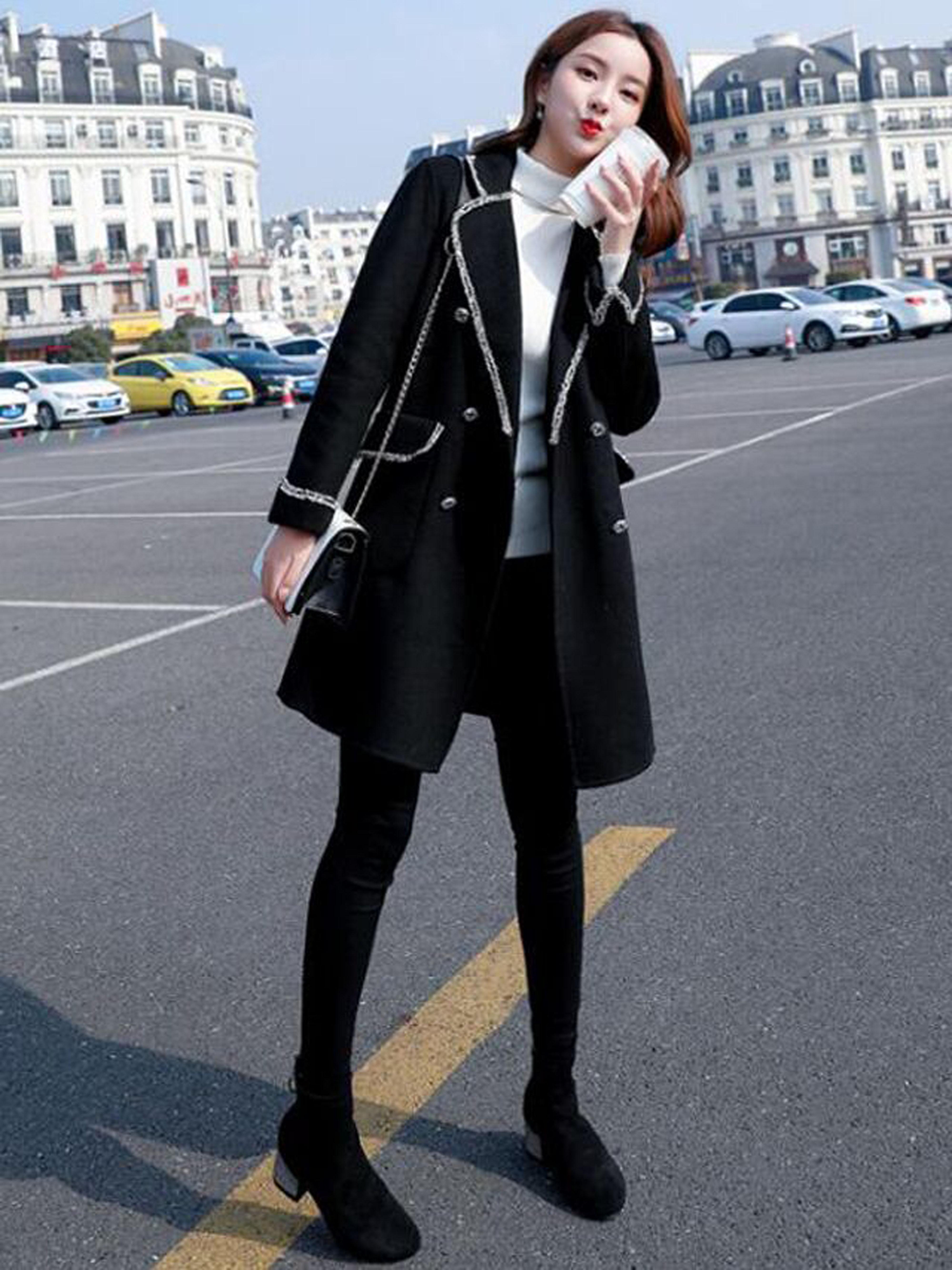 冬季新款韩版翻领毛须边毛呢外套高领毛衣+百搭打底裤时尚三件套