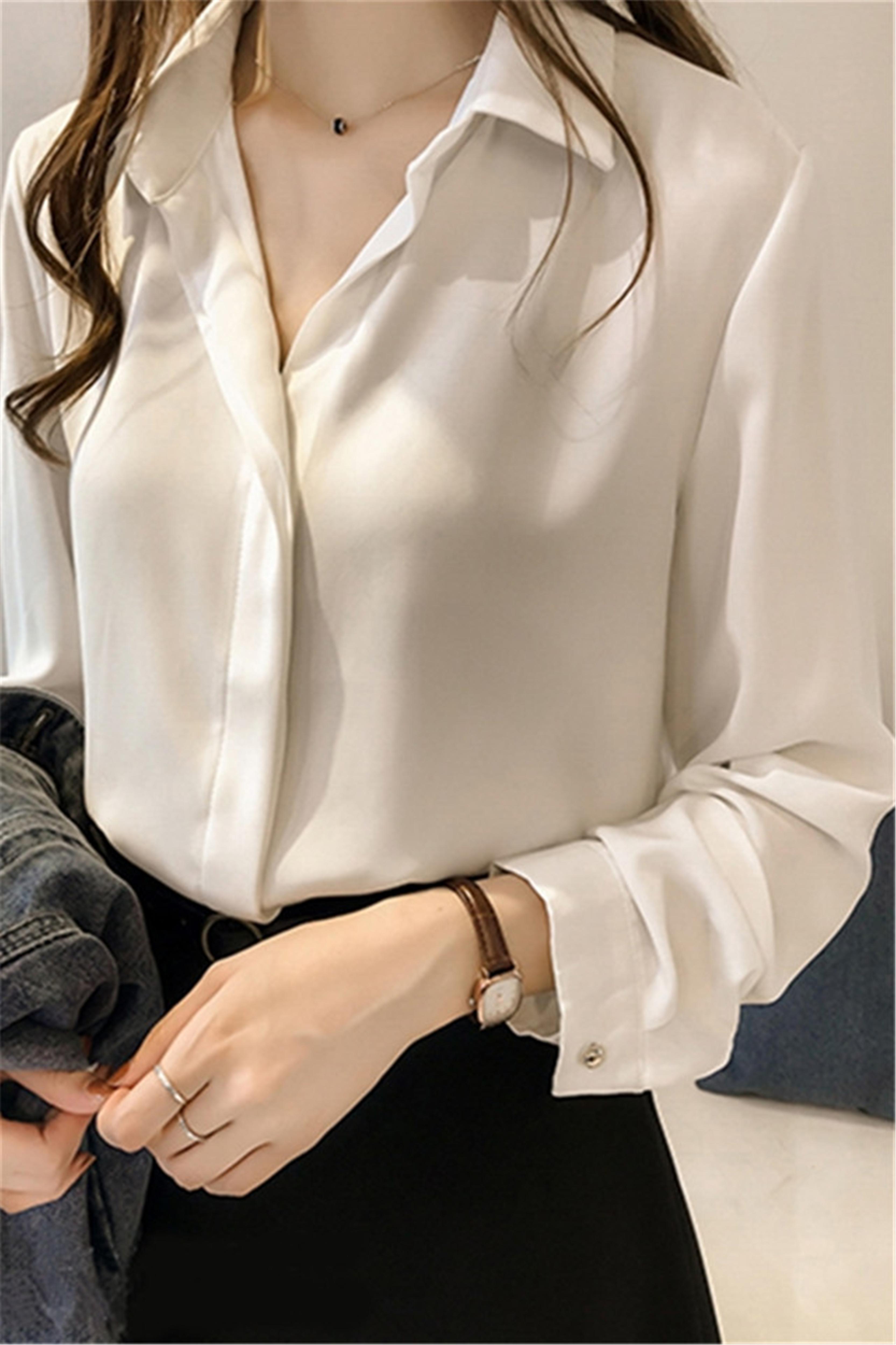 衬衫女春秋款长袖复古港味内搭雪纺打底白衬衣上衣设计感小众