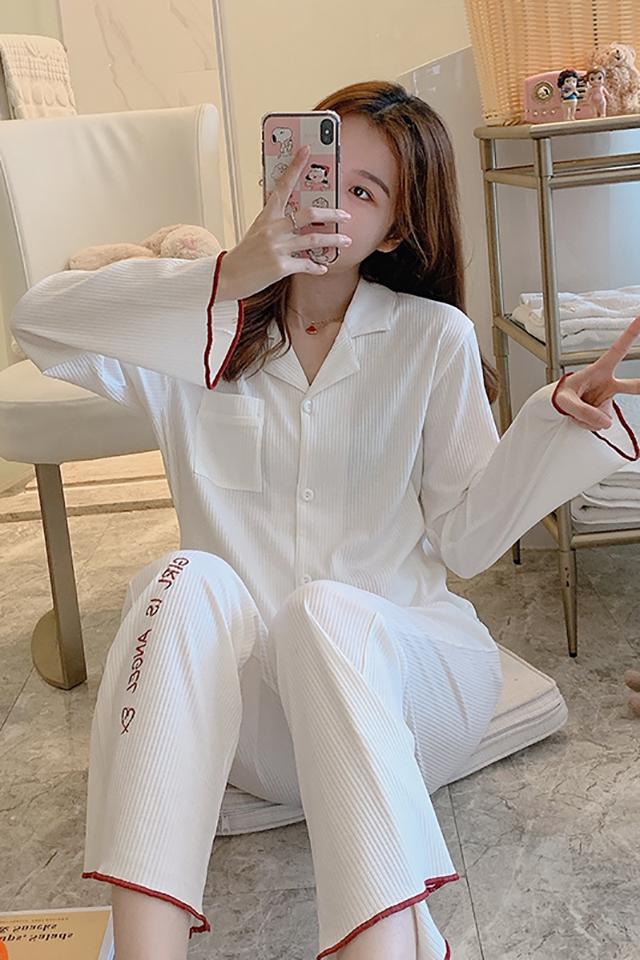 韩版睡衣女春秋季纯棉长袖宽松薄款开衫全棉女士家居服秋冬款套装