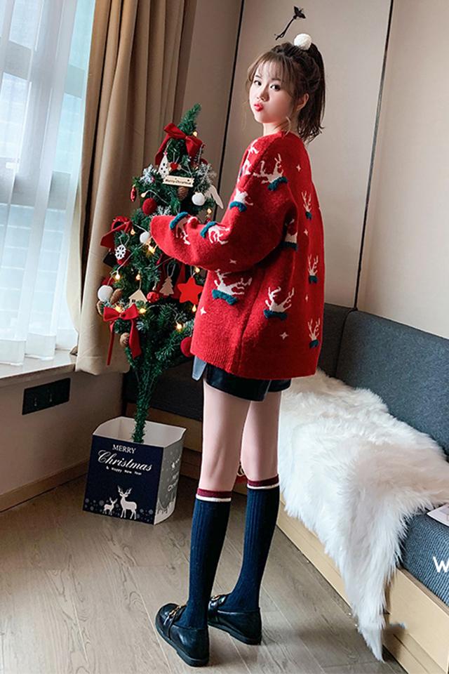 时尚套装小个子圣诞新年套头毛衣套装女高腰开叉PU皮短裤两件套