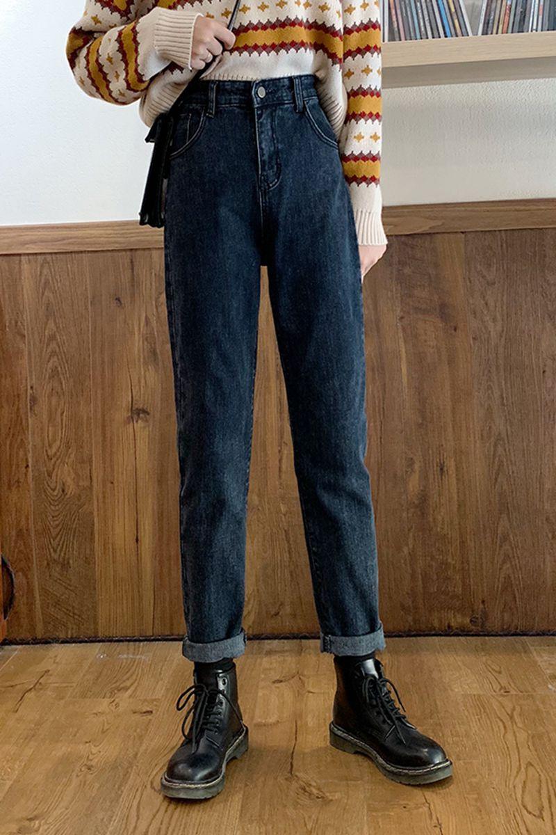 大码牛仔裤女高腰胖妹妹mm腿粗显瘦梨型身材裤子宽松直筒烟管裤