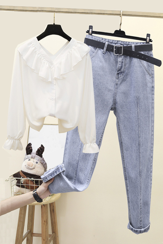 韩版春季雪纺荷叶边超仙v领衬衫+高腰宽松哈伦牛仔裤套装女潮