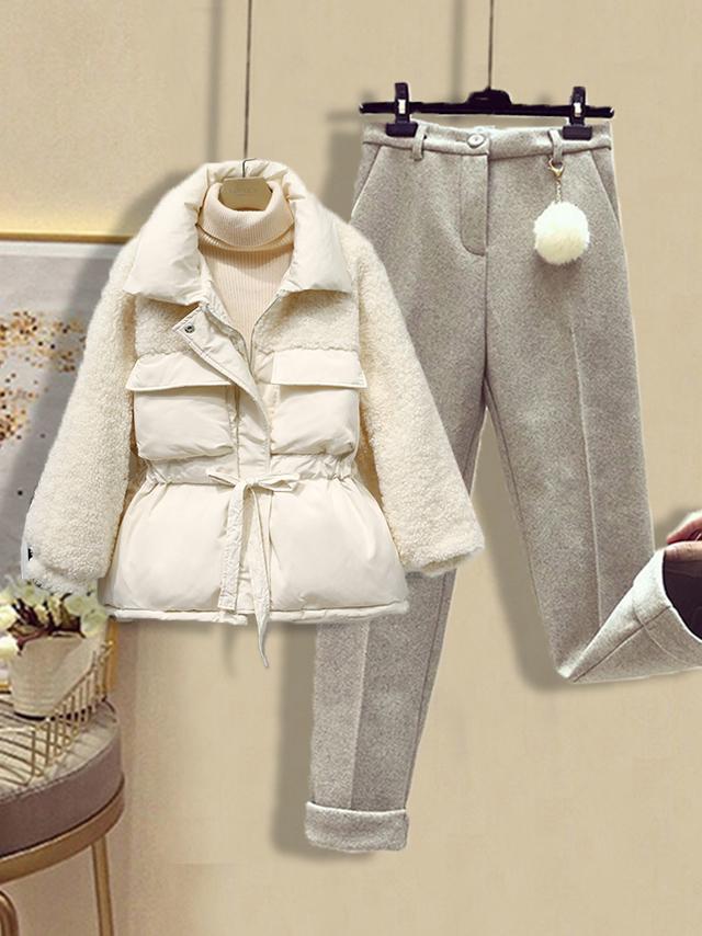 时尚套装三件套小个子穿搭冬季收腰羊羔绒小棉袄外套女毛衣休闲裤