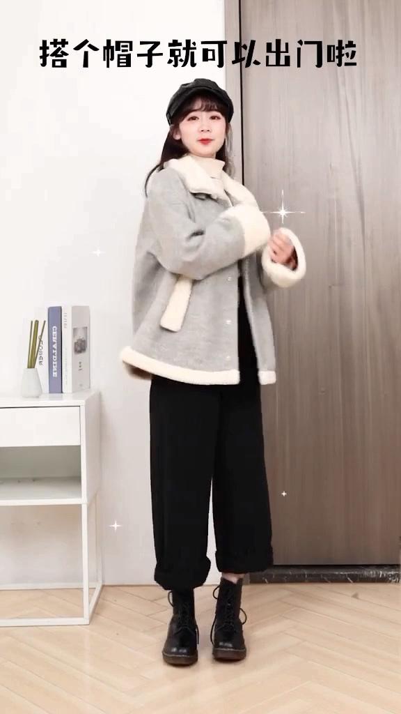 #最好看的暖冬出游穿搭!#  腿弯胯大女生看过来,这条裤子拯救你~羊羔毛搭配袖口带有花花的毛衣➕神裤超百搭!