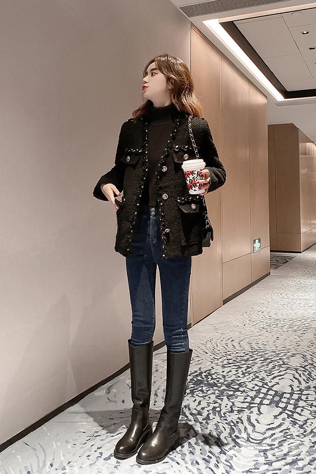 秋冬黑色V领金丝小香风外套毛呢外套+修身弹力牛仔裤套装