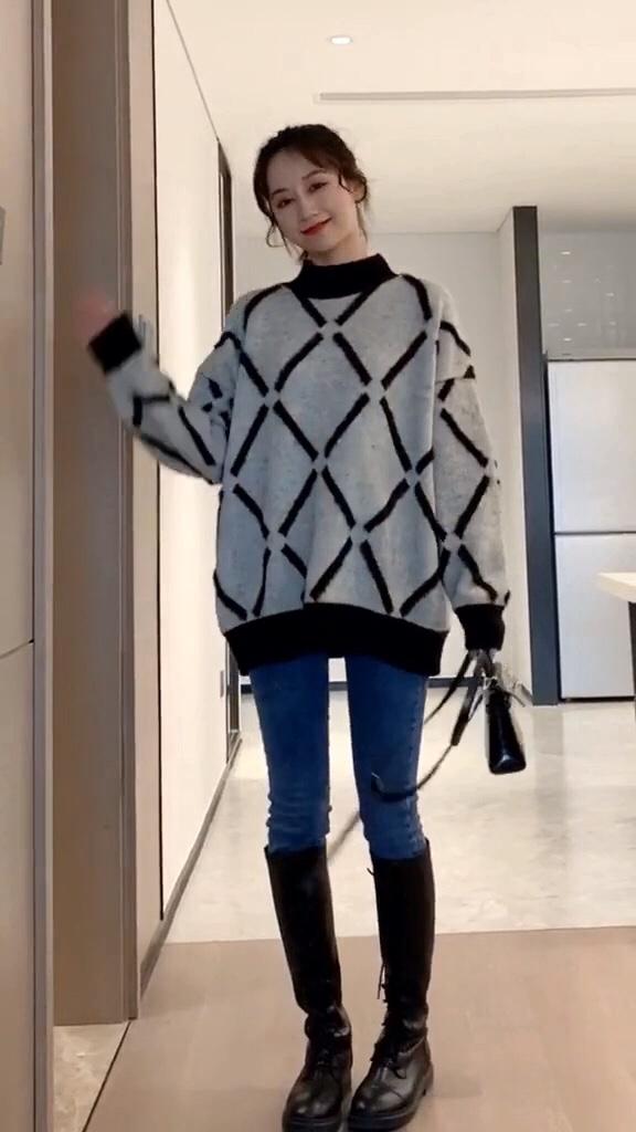 被评为韩国最受欢迎的长款毛衣,遮肉洋气又保暖#年末毛衣总结:划重点了!#