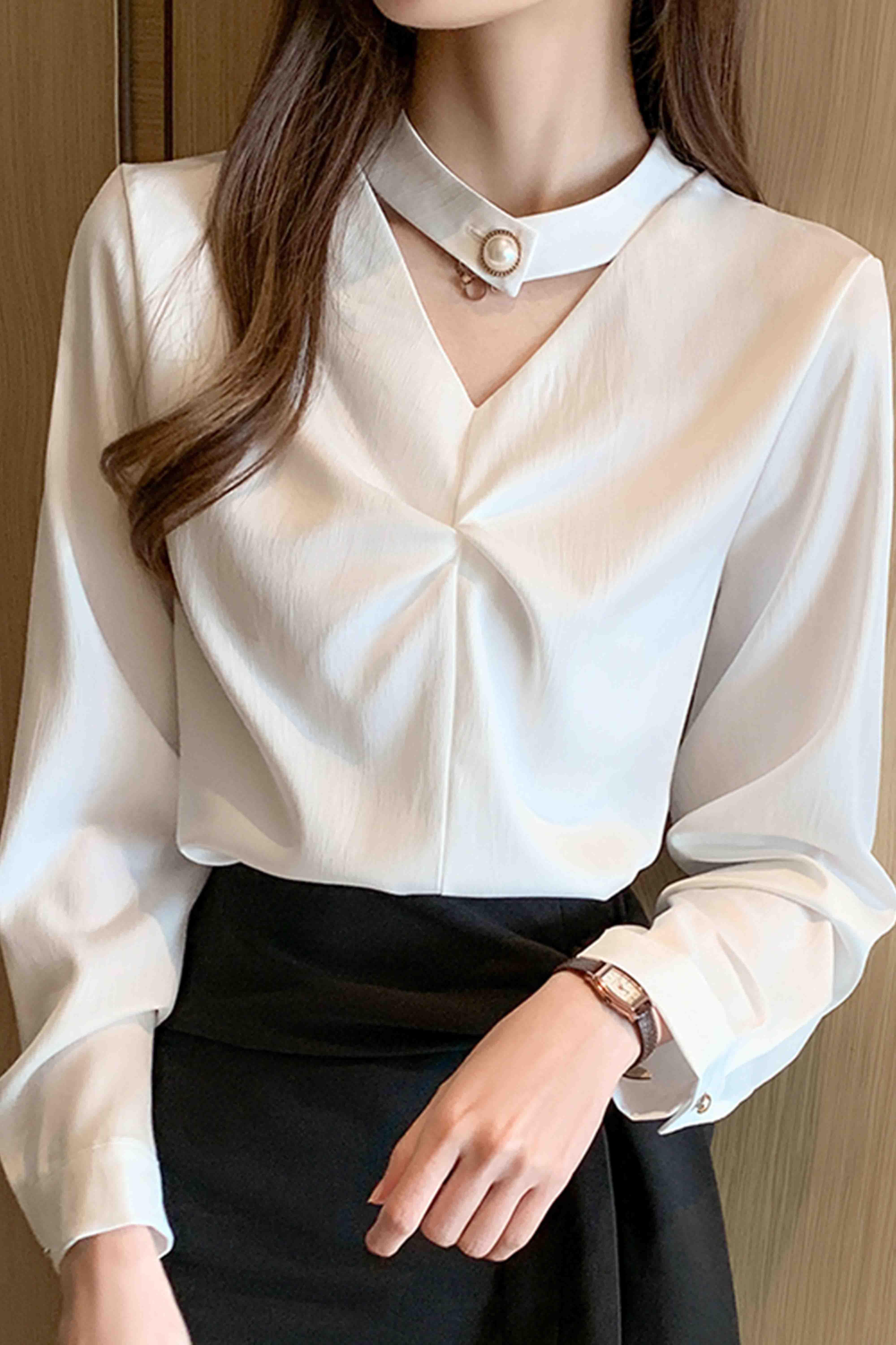 春装韩版气质百搭设计感小衫女高档洋气缎面长袖上衣衬衫女雪纺衫