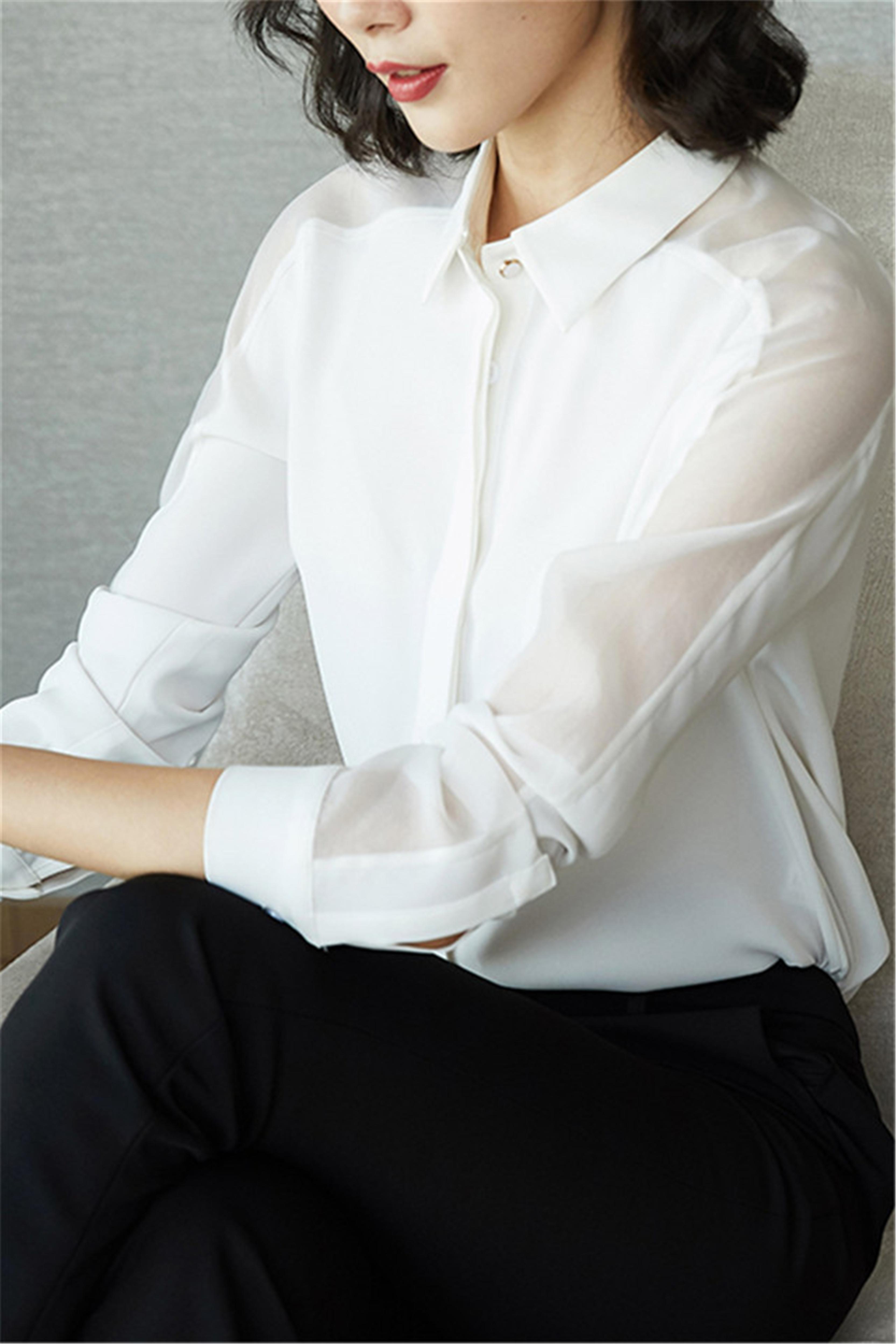 春装新款韩版衬衫女长袖大码雪纺宽松设计感上衣洋气职业衬衣