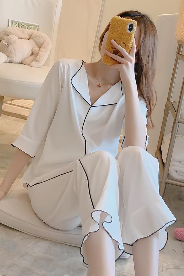 女士睡衣春秋款冰丝韩版薄款性感宽松丝绸夏季家居服套装