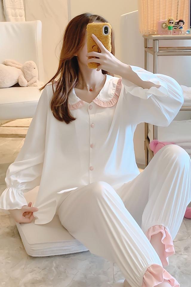 女士睡衣春秋款冰丝韩版薄款甜美宽松开衫丝绸夏季家居服套装