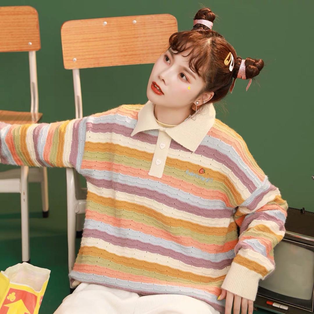#30天打卡挑战#155小个子穿搭分享:这件彩虹针织衫真的是我的最爱,超级显白,超级百搭,总之就是非常好看!