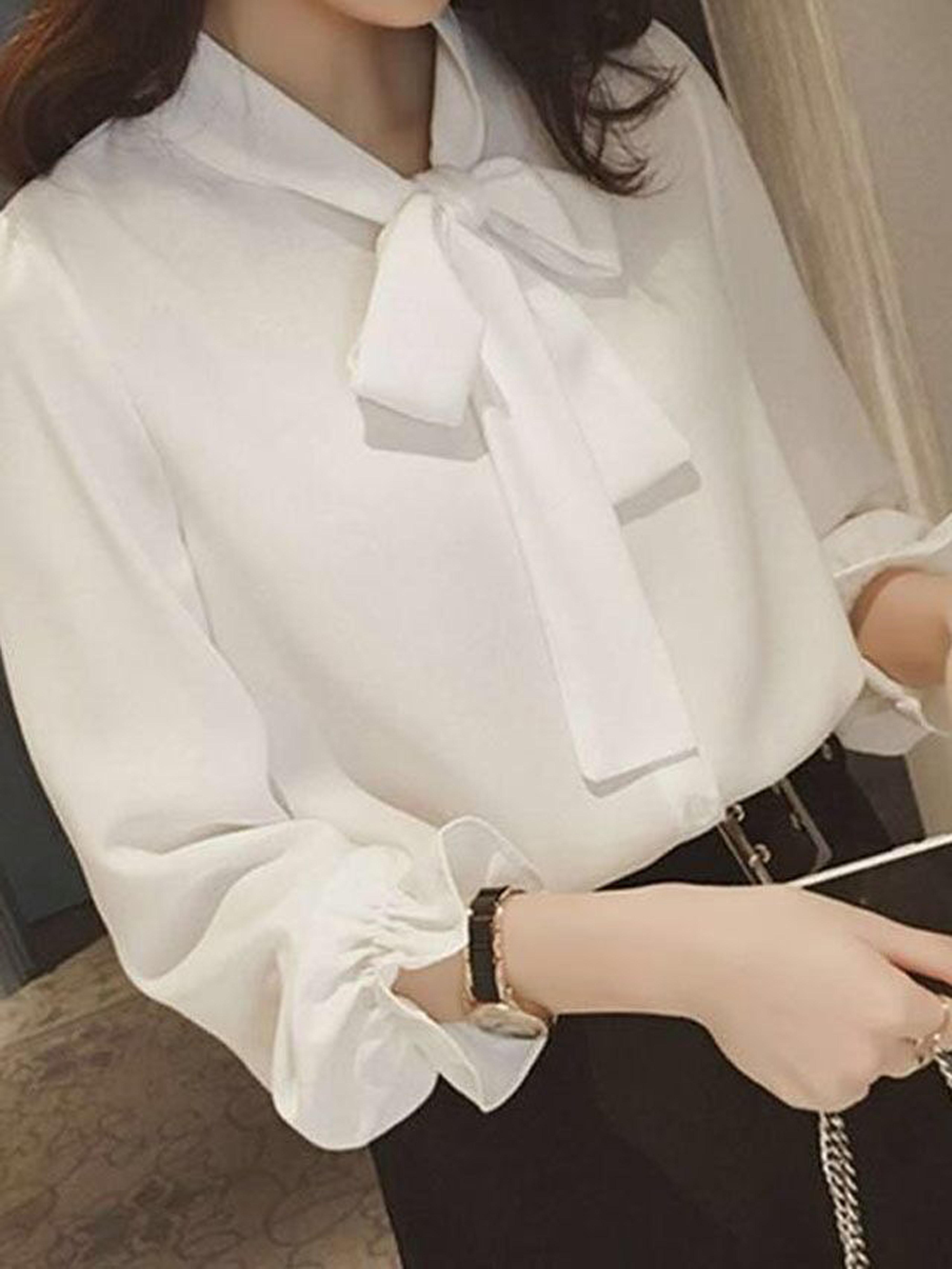 2020春季新款韩版小清新长衬衫雪纺宽松蝴蝶结上衣系带衬衫女