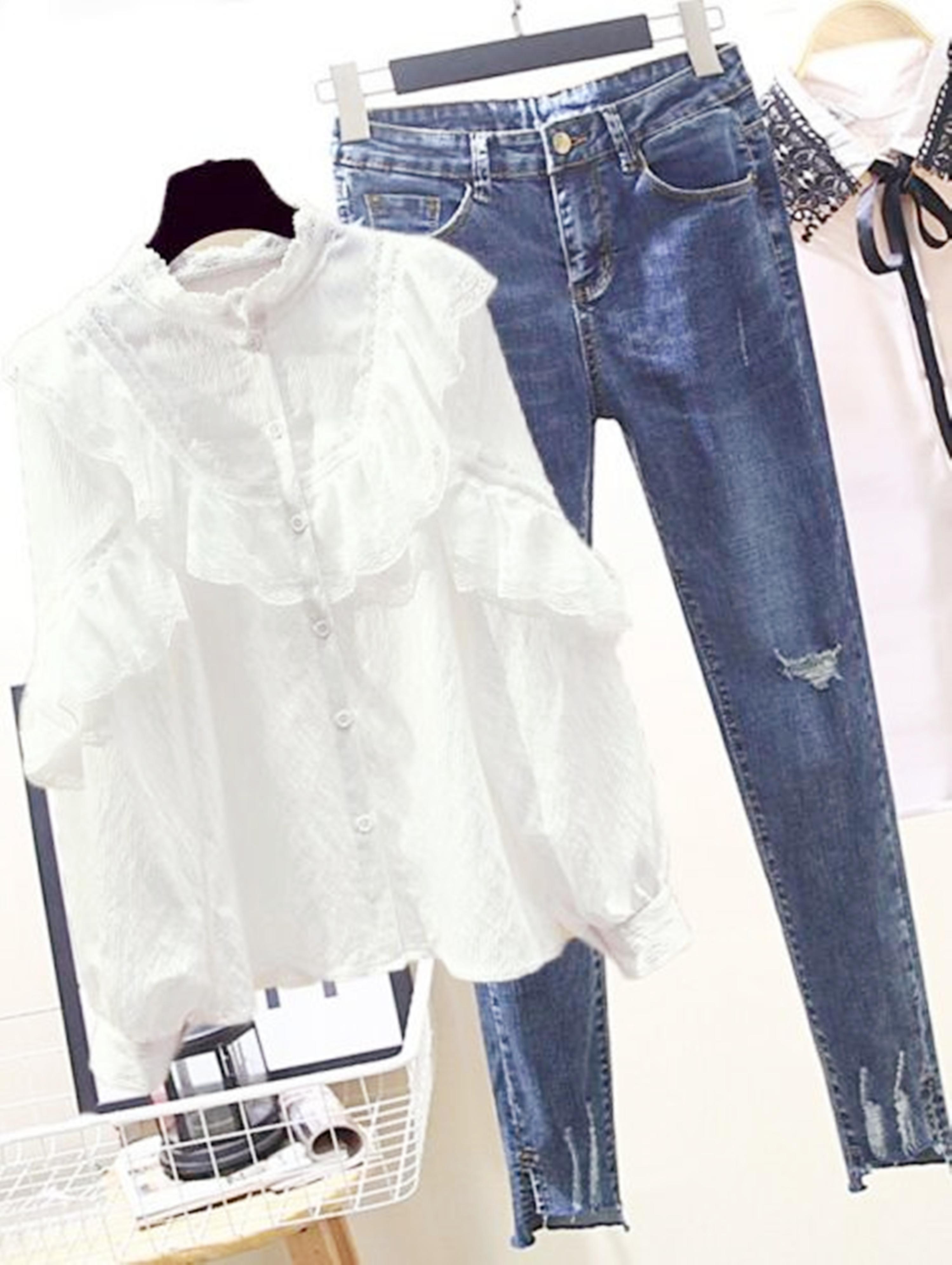 套装女春季新款气质荷叶边雪纺衬衫+高腰破洞九分牛仔裤女两件套