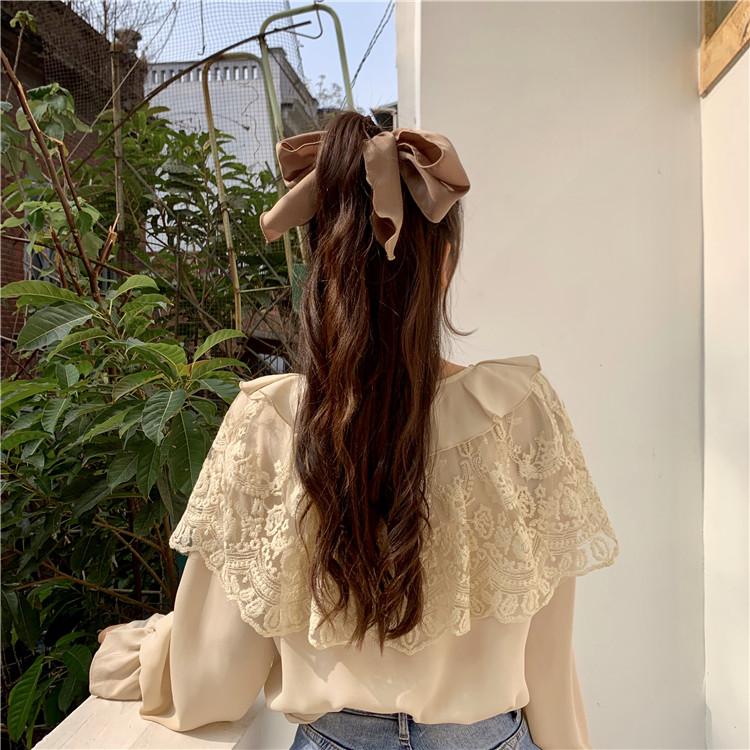 百搭荷叶边宽松休闲2020春新款小个子甜美风系带蕾丝雪纺衬衫