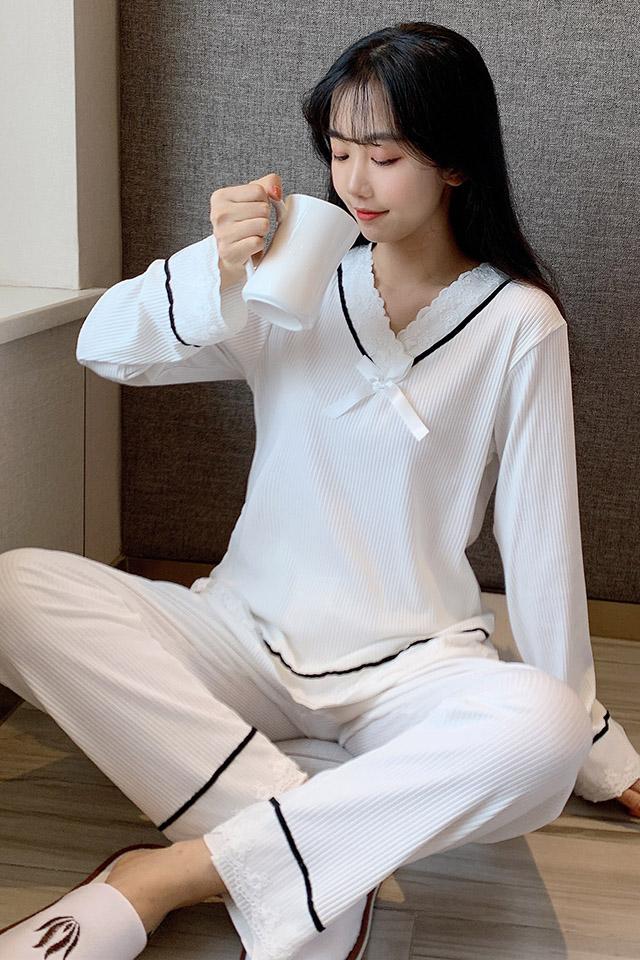 睡衣女秋季韩版甜美纯棉公主风宽松家居服可爱花边长袖两件套装