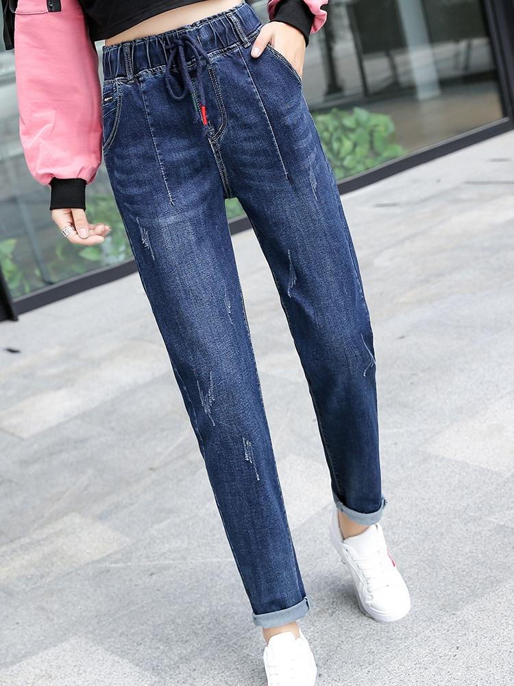 牛仔裤子少女春秋新款小个子高中学生韩版松紧腰宽松休闲长裤大码