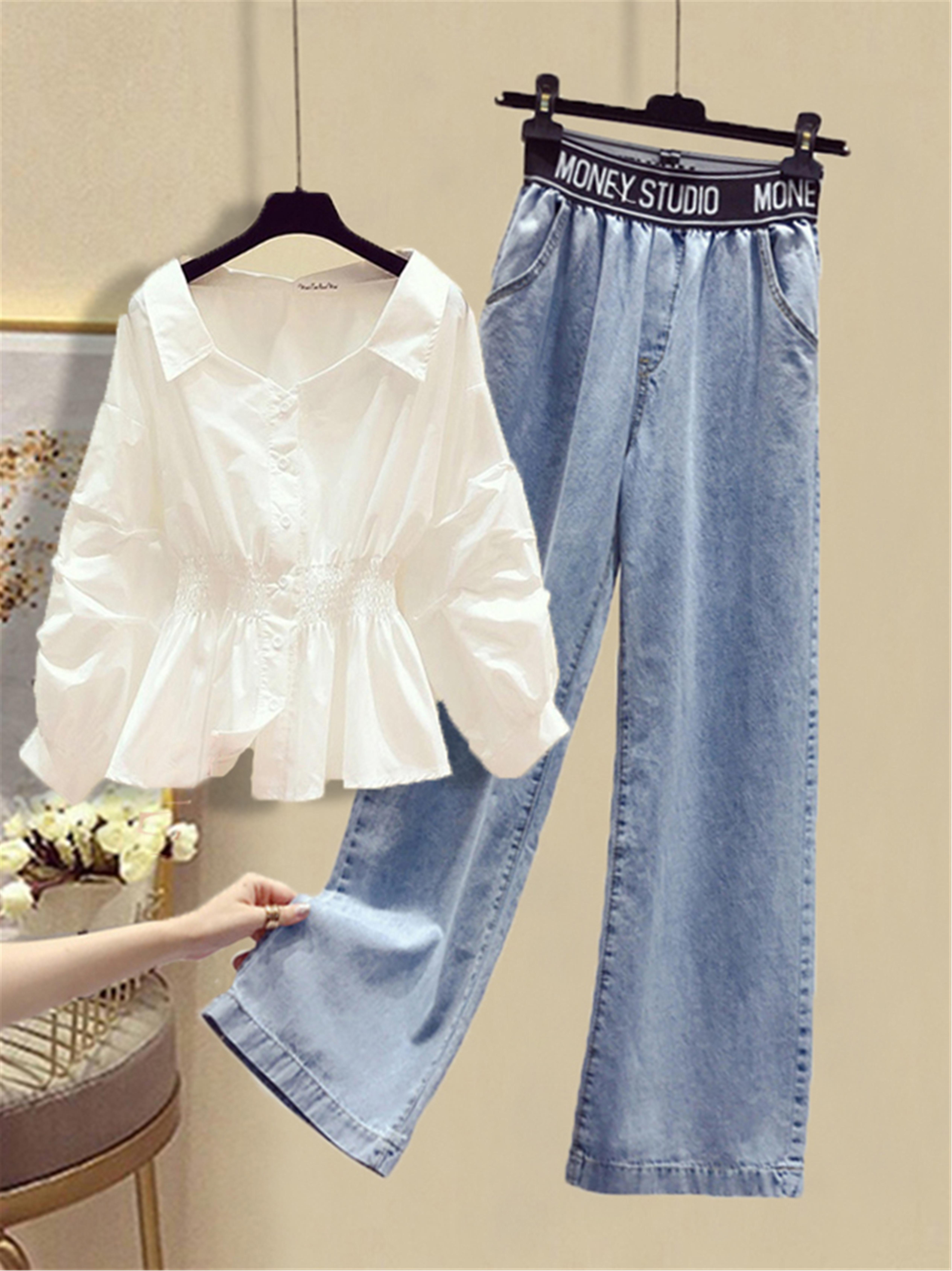 春装阔腿裤女时尚套装两件套胖妹妹微胖子显瘦穿搭白色衬衫牛仔裤