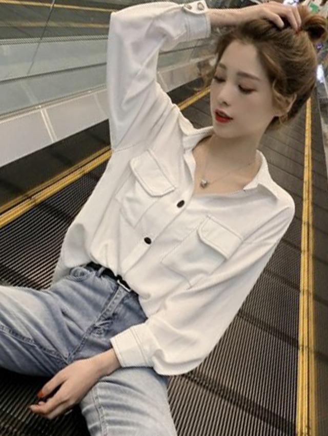 时尚套装简约宽松口袋明线白色衬衫搭配高腰显瘦休闲牛仔裤两件套