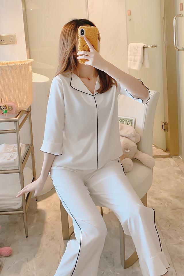 韩版睡衣女春秋可爱薄款冰丝真丝五分袖性感家居服两件套装夏白色